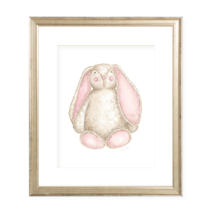 Fluffy Bunny in Pink Watercolor Print