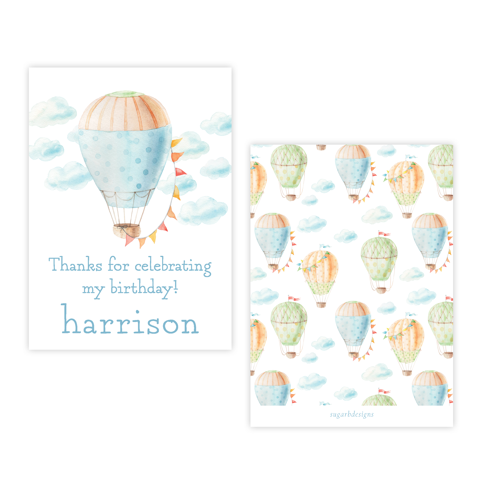 Fly High Hot Air Balloon 4 Bar Party Favor Gift Tag