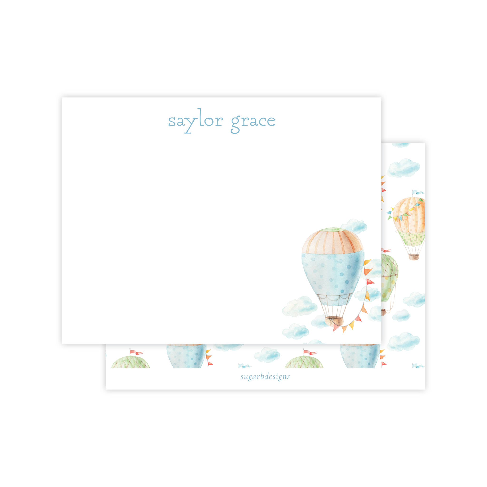 Fly High Hot Air Balloon Flat Stationery