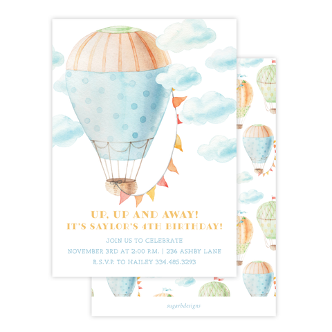 Fly High Hot Air Balloon Birthday Invitation