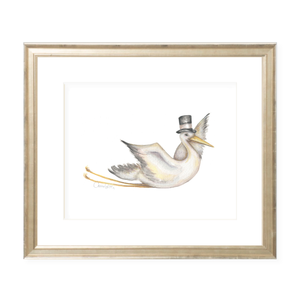 Flying Stork Landscape Watercolor Print