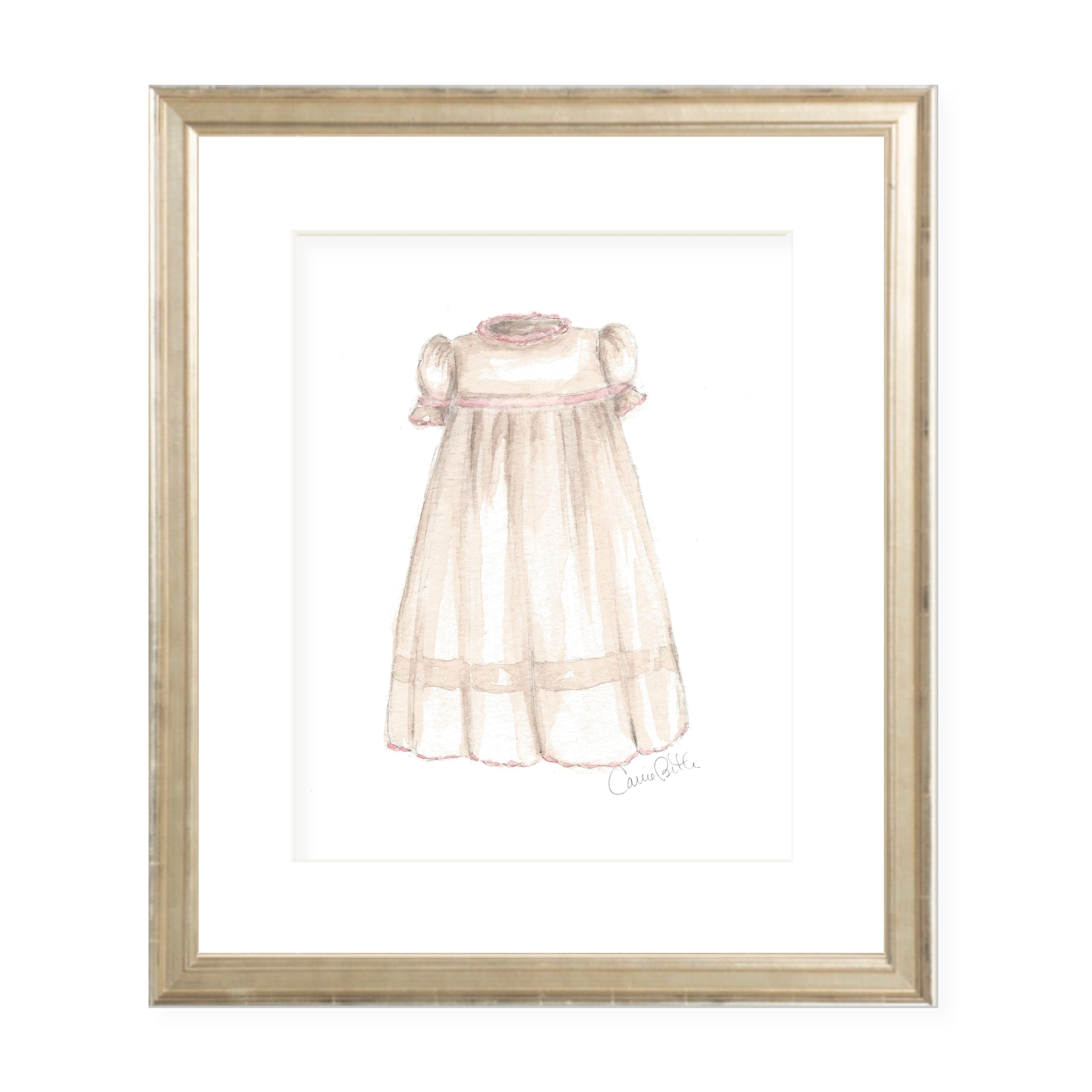 Frances Hereford Dress in Pink Watercolor Print