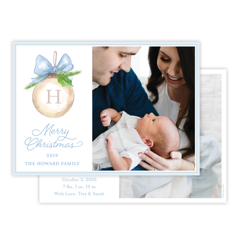Franklin Ornament Blue Birth Announcement Christmas Card
