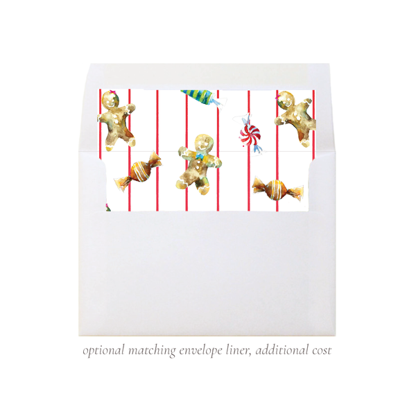 Gingerbread Greetings Christmas Card Landscape Border Stripe