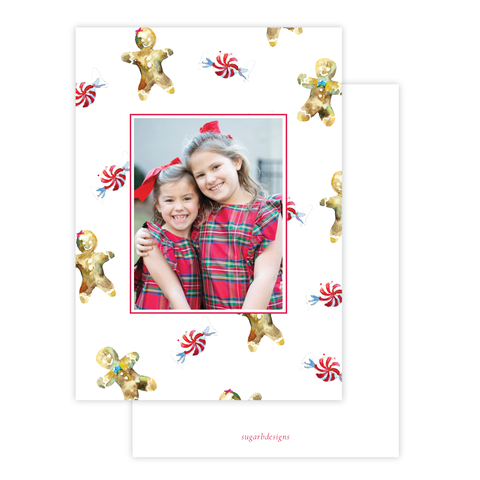 Gingerbread Greetings Christmas Card Border Portrait