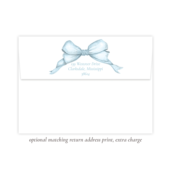 Gable Blue Bow Flat Stationery