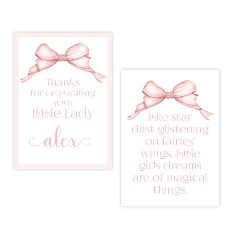 Gable Bow Pink 4 Bar Party Favor Gift Tag