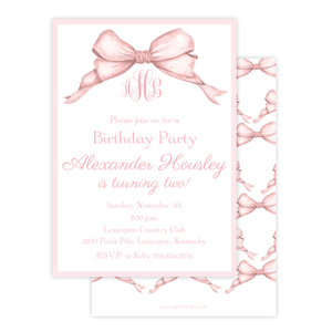 Gable Bow Pink Birthday Invitation