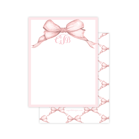 Gable Bow Pink Flat Stationery