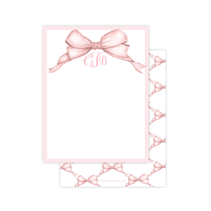 Gable Pink Bow Flat Stationery