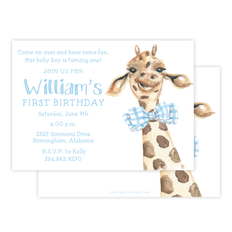 George the Giraffe Birthday Invitation
