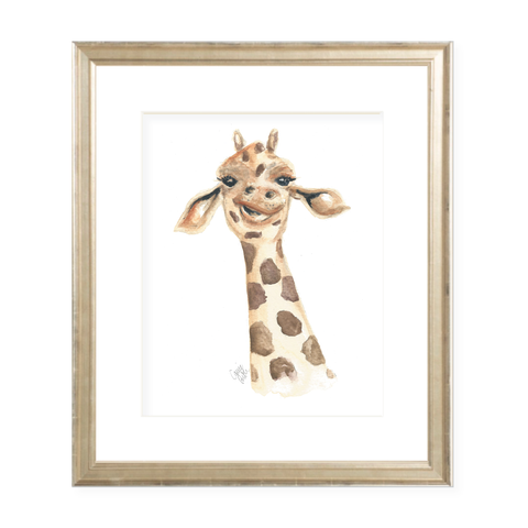 George the Giraffe Watercolor Print
