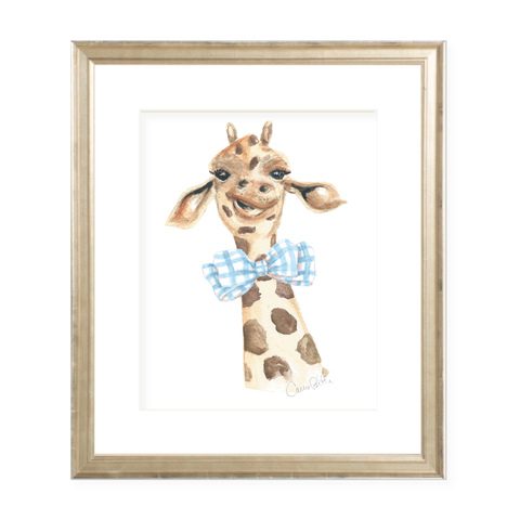 George the Giraffe and Bowtie Watercolor Print