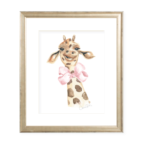 Georgette the Giraffe and Bow Watercolor Print