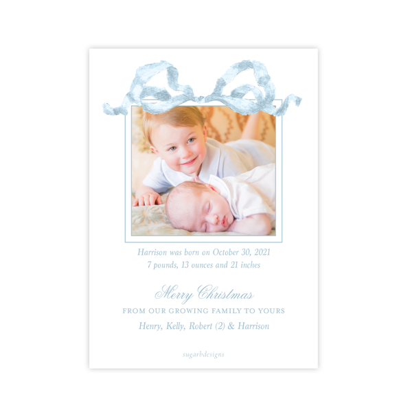 Georgia's Frame Blue Birth Announcement Christmas Card