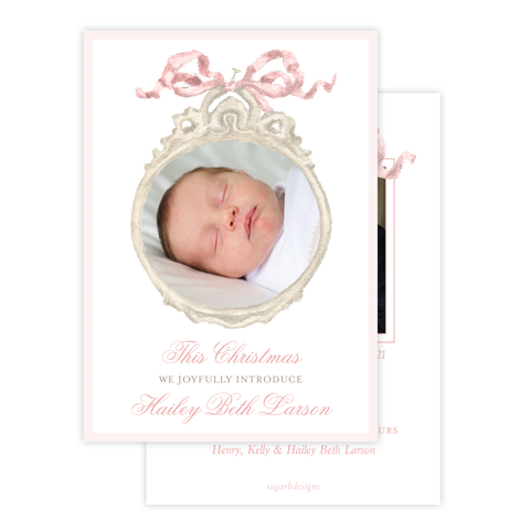 Georgia's Frame Pink Birth Announcement Christmas Card