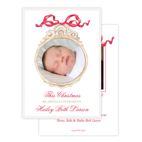 Georgia's Frame Red Birth Announcement Christmas Card