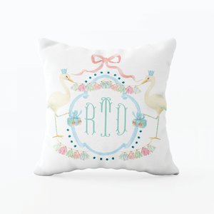 Glitterville Stork Blue Monogram Pillow