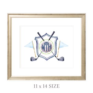 Golf Crest Monogram Landscape 11 x 14 Watercolor Print