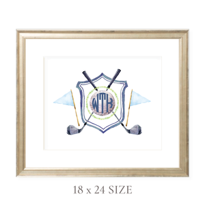 Golf Crest Monogram Landscape 18 x 24 Watercolor Print by Sugar B Designs