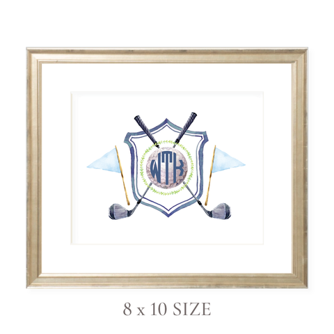 Golf Crest Monogram Landscape 8 x 10 Watercolor Print by Sugar B Designs