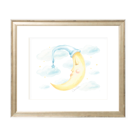 Goodnight Moon Blue Landscape Watercolor Print