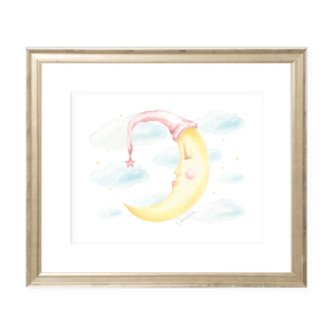 Goodnight Moon Pink Landscape Watercolor Print