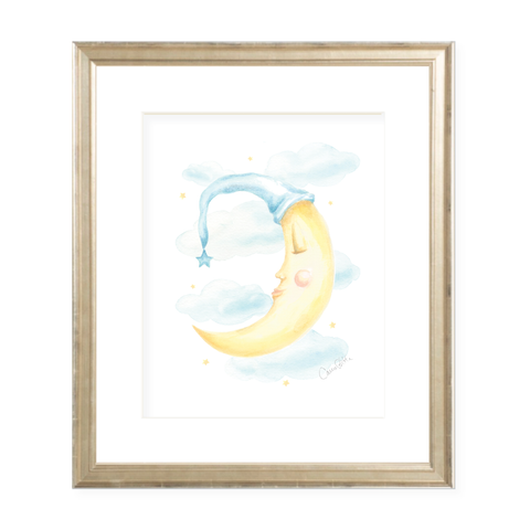 Goodnight Moon Blue Watercolor Print