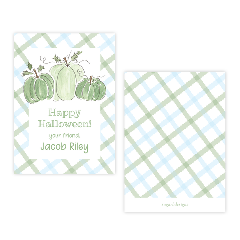Green and Blue Pumpkins 4 Bar Gift Tag