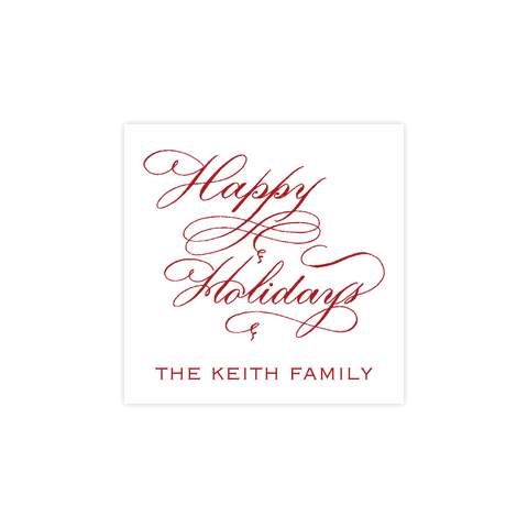 Happy Holidays Red Calligraphy Christmas Square Sticker