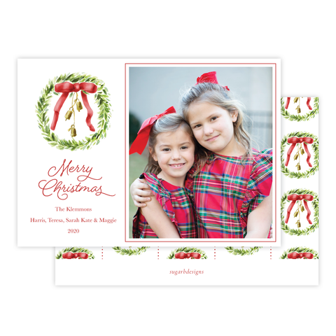 Harrington Wreath Red Christmas Card Landscape