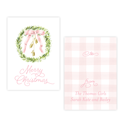 Harrington Wreath Pink Christmas 4 Bar Christmas Gift Tag