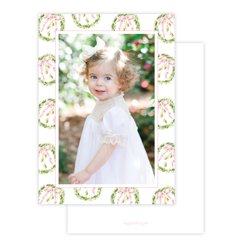 Harrington Wreath Pink Christmas Card Portrait Border