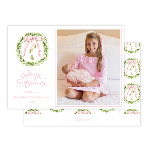 Harrington Wreath Pink Christmas Card Landscape