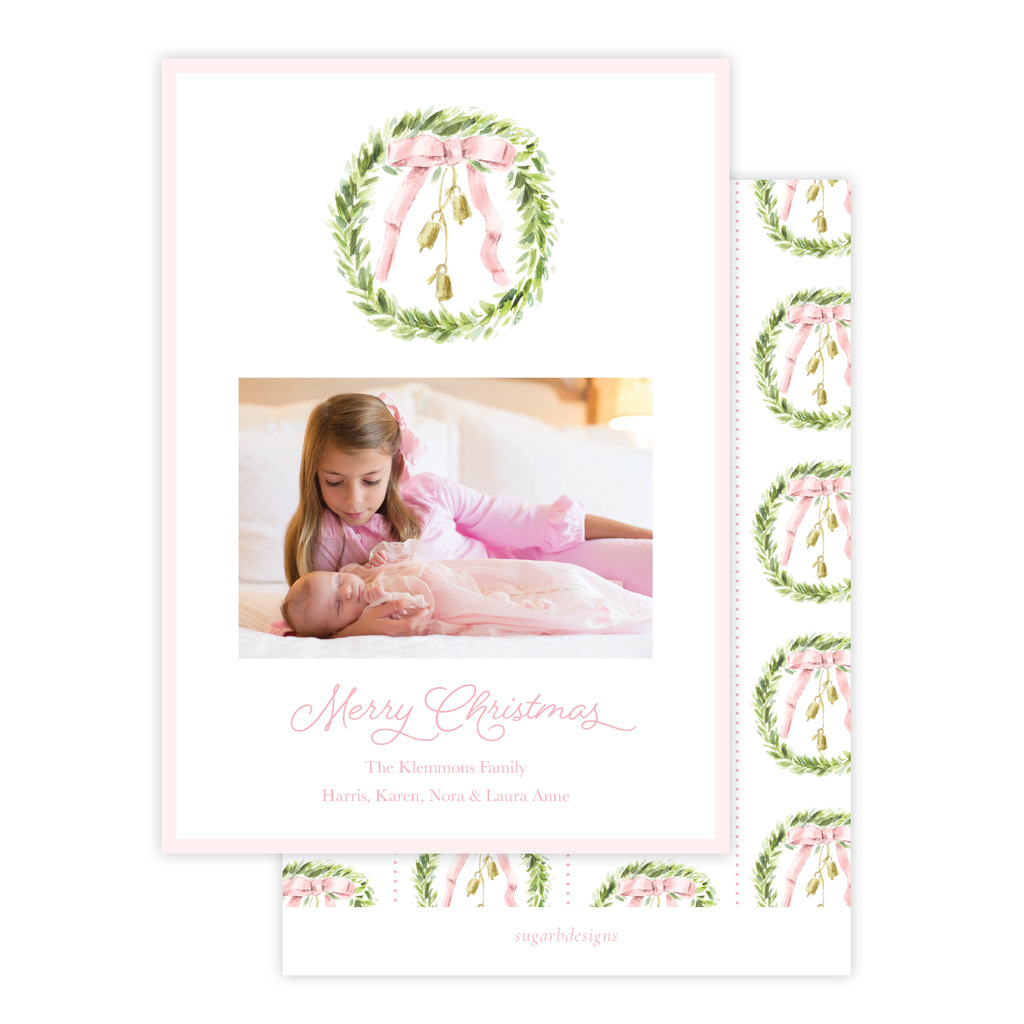 Harrington Wreath Pink Christmas Card Portrait