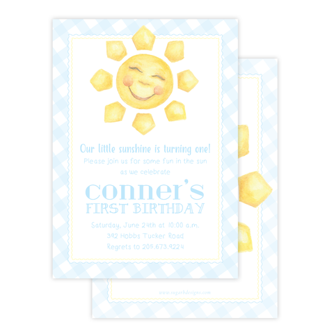 Sunshine Blue Birthday Invitation