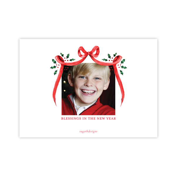 Harris Tree Red Black Crest Landscape Christmas Card