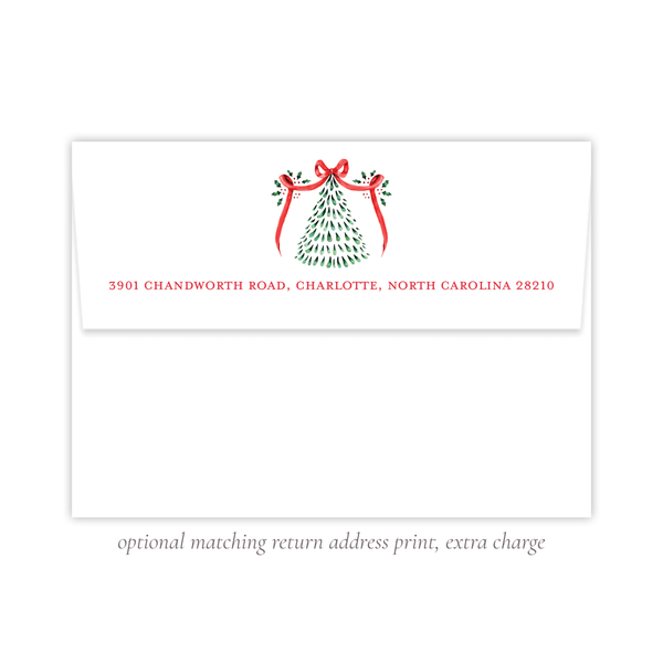 Harris Tree Red Blue Crest Landscape Change of Address Christmas Card