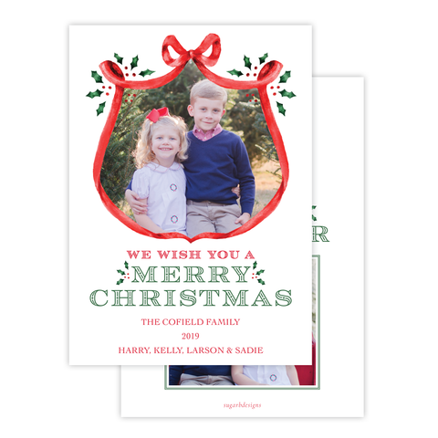 Harris Tree Red Large Wreath Portrait Christmas Card