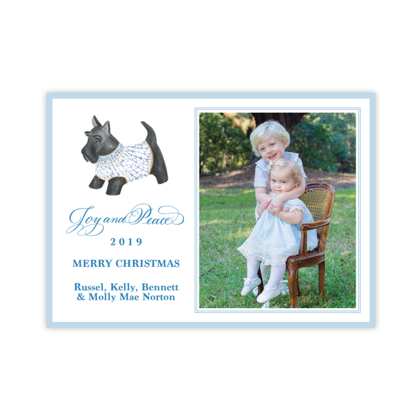 Herend Inspired Scottie Dog Landscape Christmas Card