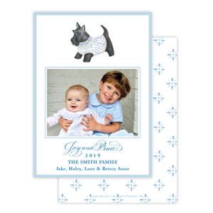 Herend Inspired Scottie Dog Vertical Christmas Card