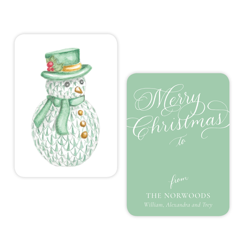 Herend Inspired Snowman 4 Bar Christmas Gift Tag