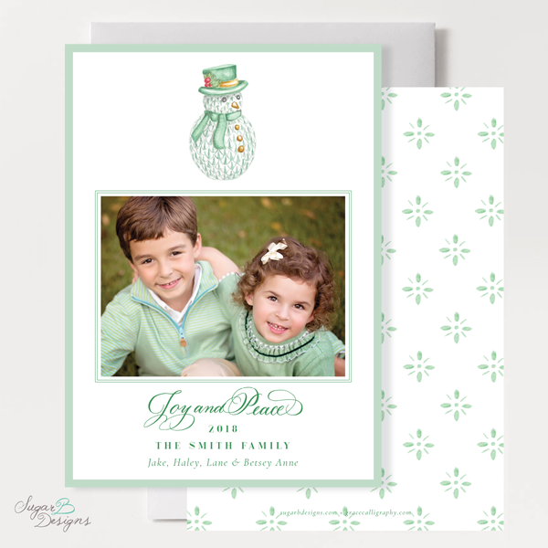 Herend Inspired Snowman Vertical Christmas Card