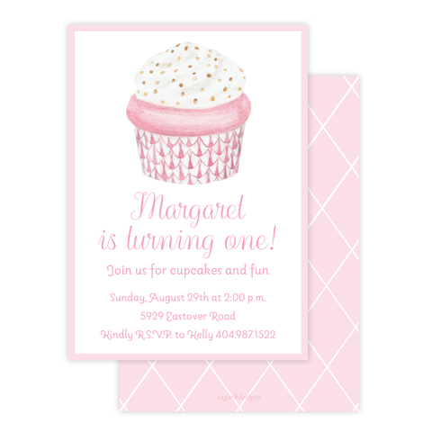 Herend Cupcake Pink Birthday Invitation