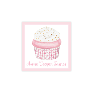 Herend Cupcake Pink Square Sticker