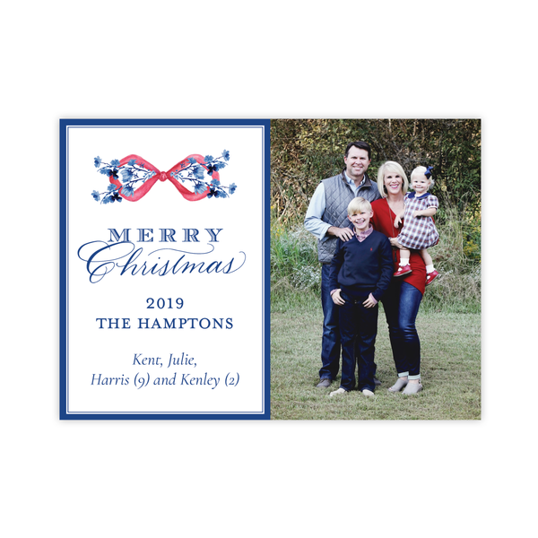 Hopkins Red Bow Horizontal Christmas Card