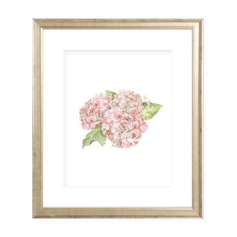 Hydrangea Pink Portrait Watercolor Print by Sugar B Designs
