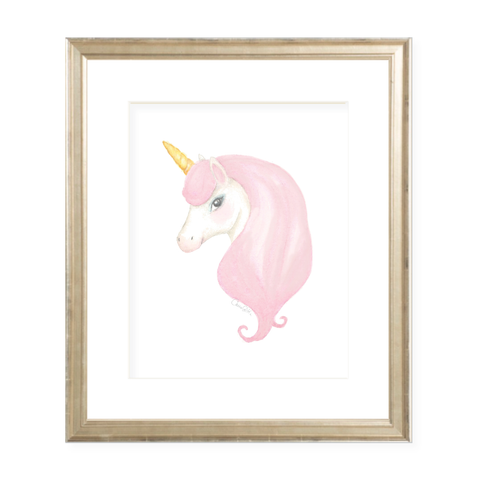 Izzy the Unicorn Portrait Watercolor Print