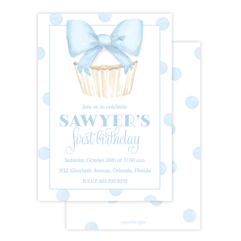 Icing Bow Cupcake Blue Birthday Invitation by Sugar B Designs