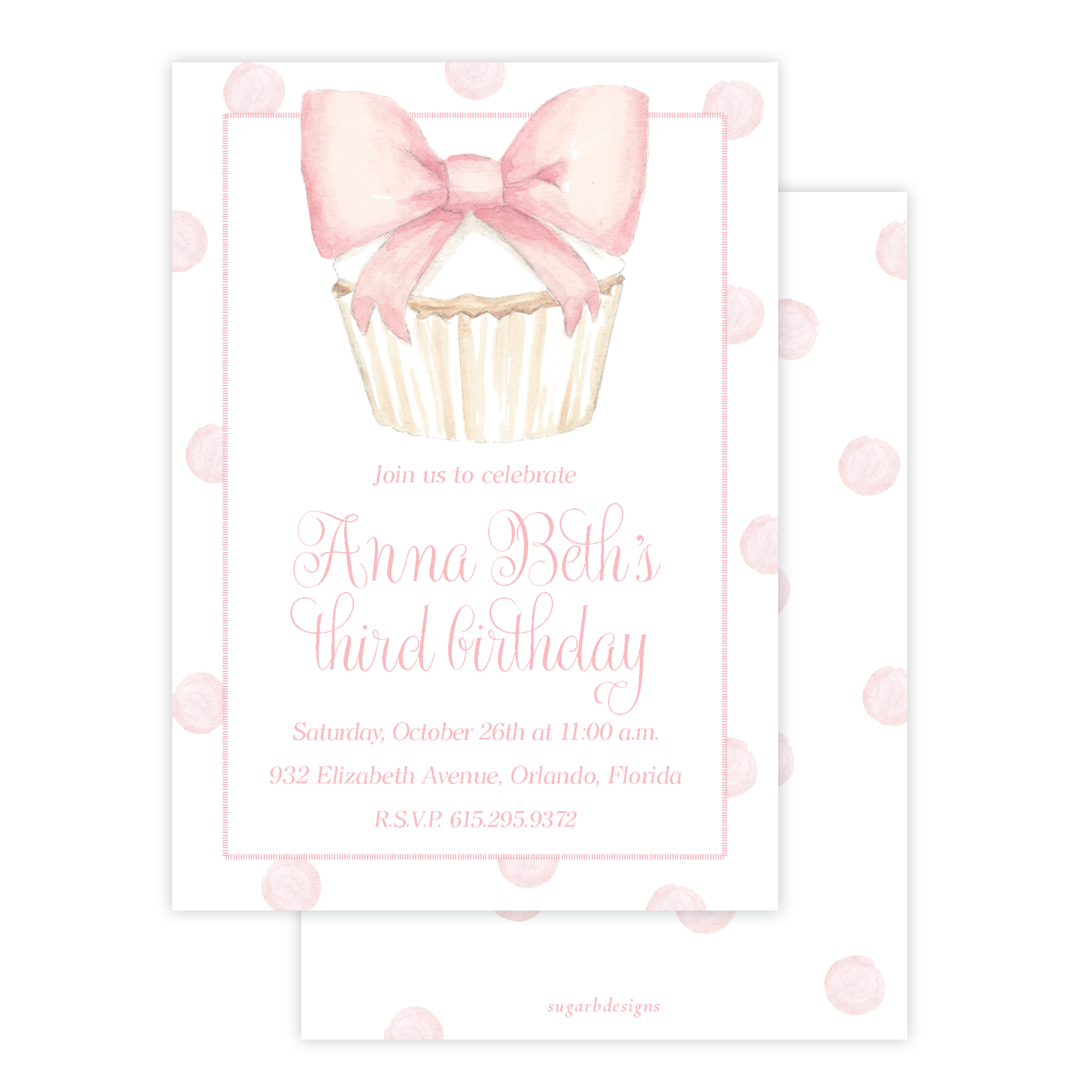 Icing Bow Cupcake Birthday Invitation by Sugar B Designs